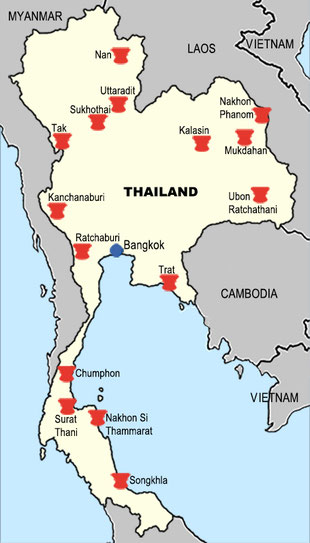 Map of antique drum discoveries in Thailand before 2000 CE