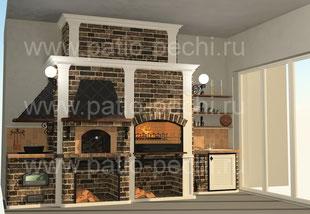 печной комплекс камин-мангал русская печь плита под казан 3 в 1