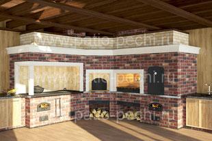 печной комплекс в теплой беседке 5 в 1 камин-мангал, печь для казана, тандыр, русская печь, коптильня, барбекю кухня
