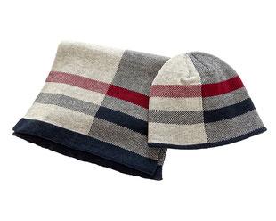 Schal Mütze Set, Blau weiß