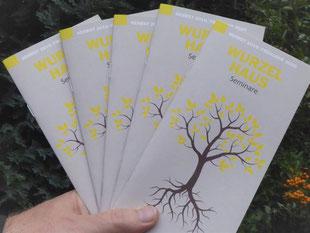 Hand hält fünf Seminar Programme des Wurzelhauses, abgebildet ist ein gezeichneter Baum mit Wurzeln und Ästen