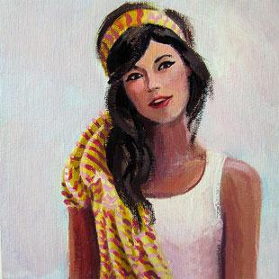 """Original Gemälde Frauenportrait """"Laura"""" 15 x 15 cm"""
