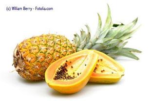 Ananas und Papaya bilden die natürliche Grundlage für die verwendeten Enzyme in Wobenzym plus.