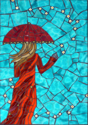 Christine Brallier Mosaics woman with umbrella