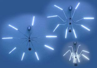 Hingucker: Die verstellbaren Lichtobjekte aus Regenschirmen Foto: Matthias Wisniewski