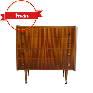 commode teck,commode vintage,1960,vernis, vernie, brillante,glossy,vintage, laiton,4 tiroirs