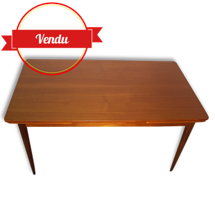 table, table scandinave,table en teck,pieds fuseau,rallonges,1960,1970,table vintage,épurée,table,