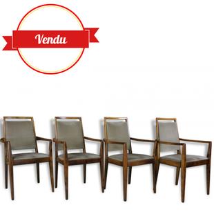 chaises scandinaves, 4, vintage, scandinave, bois, courbé, velours gris, bohème, fauteuil,vintage, circa, 1960, 1950