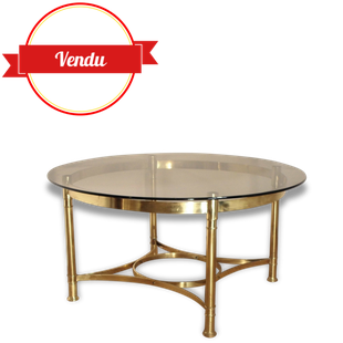 Table, basse, laiton, verre, fumé,salon,ronde,vintage,1960,1950,1970