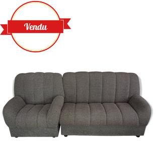salon modulable, canapé modulable,vintage, tissu, gris,chiné,fauteuil,méridienne
