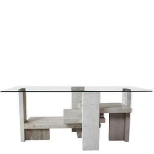 table basse willy ballez, table basse design vintage, table basse 1970, brutaliste, sculpturale, travertin, verre, pierre, marbre, table basse contemporaine, contemporain