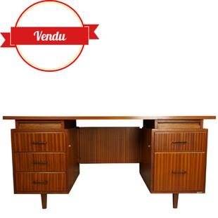 grand bureau vintage,bureau classeur suspendu,bureau avec beaucoup de rangements,bureau teck,bureau acajou,vintage,bureau double caisson,1950,1960