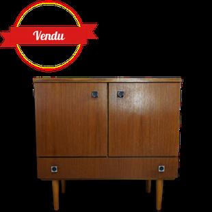 meuble de rangement, petit meuble, vintage meuble retro, pieds compas, commode, 1960, tiroir, porte, teck
