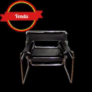 b3, fauteuil,wassily,marcel breuer,design,vintage,cuir,noir,chromé,tubulaire,icone,iconique