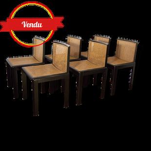 chaise années 1980, 80, design, vintage, laqué noir, cannage, cannées
