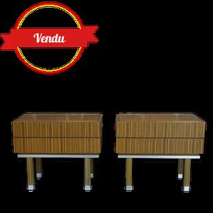 paire de chevets vintage, chevet,tiroir, bois, métal brossé,minimaliste, vintage, 1960, 1970, bois, teck