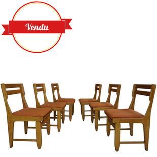 6 chaises guillerme et chambron,chaises chéne,votre maison,excellent état, qualité, french design chair,french,vintage,raphael, assise large,chéne