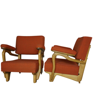 fauteuil guillerme et chambron, fauteuil vintage original,guillerme et chambron,fauteuil,lounge,bas,sofa,armchair,french,france,1950,50's,50,60,1960,lille,nord,orange,red,rouge,rouille,chéne,oak,rare,iconique,design francais,original,votre maison,sofa