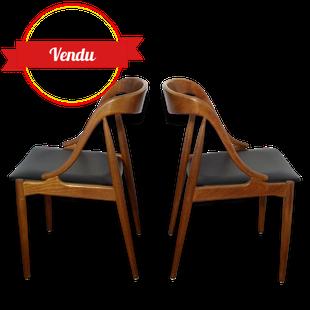 paire de chaises, scandinave, Johannes Andersen, Uldum, Mobelfabrik, teck,1960, simili, cuir, noir, vintage