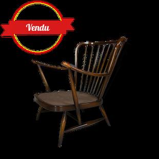 fauteuil ercol, fauteuil vintage, fauteuil scandinave,orme , bois, barreaux, salon ercol,salon, lounge,bas, patine,1950,1960