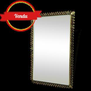 miroir vintage laiton,miroir vintage laiton rectangulaire,miroir design ancien,josef frank,volutes