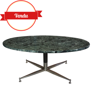 table marbre,coffee table,marbre vert, surfing table,marble,1960,1970,arflex,Michel Kin,vintage, space age,chrome,green marble,french,design,ovale,pivotante