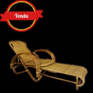 transat en rotin, escamotable, fauteuil, pliant, réglable, original, rotin, bambou, osier, confortable, soleil