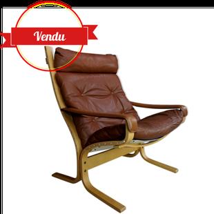 gand fauteuil siesta,siesta ingmar relling,relling,westnofa,armchair,lounge,scandinave,cuir,marron,brown,leather,vintage