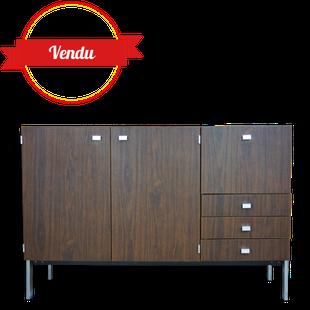 enfilade pierre guariche, enfilade meurop, sideboard, vintage, 1960, 1970, marron, bois, chromé, buffet