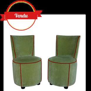 paire de fauteuils crapaud,TOSHIYUKI KITA, cassina, crapaud vintage, retro ,moderne,design,cocktail,orange,arrondi,galbé,rond,crapaud,rétro,moderne