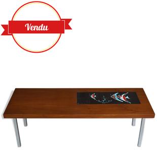 table basse vintage,table basse teck,céramique De Nisco, 1960,1950, aluminium,poissons, scalaires,bois, noir,corail,vintage, rétro