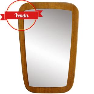 miroir teck,miroir tonneau,miroir incurvé,miroir scandinave,miroir ancien,miroir,teck,bois,1950,1960,1970