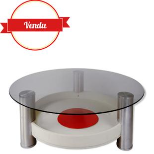 table basse vintage design de années 60 70 ronde,table basse tripode,grande table basse ronde ,design et vintage,majdeltier,cible,aluminium brossé