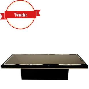 table basse M 2000, 23,carat,design 1970, rectangulaire, vintage,table de salon,table,noir,métal,laiton,or,fin,dorée,miroir,1970,1960