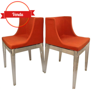 Chaises ,Mademoiselle, Kartell, Philippe Starck, design,vintage,fauteuil,rouge