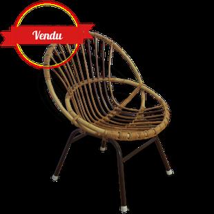 fauteuil,coquille,corbeille,rotin,osier,1950,1960,enfant,kids,petits,vintage,ancien,métal