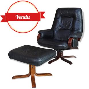 fauteuil inclinable,inclinable,lounge,fauteuil vintage pivotant inclinable,plusieurs positions,relax,cuir noir,design scandinave,piétement étoile,bois,courbé