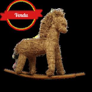 enfant,deco,decoration,cheval,a,bascule,paille,rotin,bois,vintage,poney