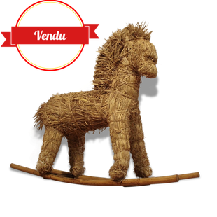 enfant,deco,decoration,cheval,a,bascule,paille,rotin,bois,vintage,poney