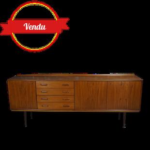 enfilade en teck 1960, enfilade scandinave, vintage, rétro, enfilade, basse, tiroirs, porte, élégante, bois
