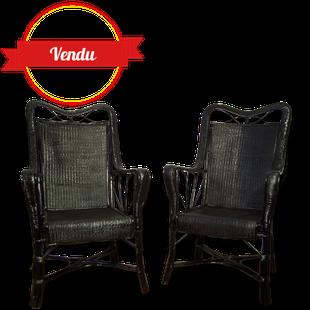 rotin,fauteuil,fauteuil rotin,laque,laqué,noir,black,peint,haut dossier,1950,1960,vintage,confortable