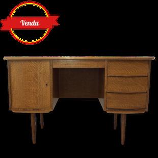 bureau,scandinave,vintage,1950,1960,chêne,chéne,compas,profilé,caisson,tiroirs