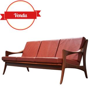 canapé,fauteuil,cuir,scandinave,danish,de ster gelderland,cuir fauve,cuir cognac,bois,organique,1950,1960