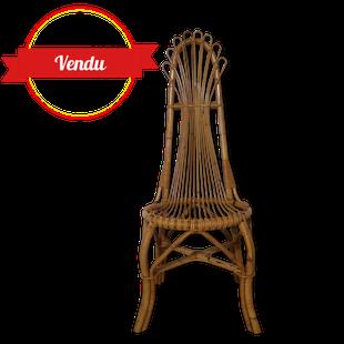 chaise ,rotin,bohéme,vintage,filiforme,longiligne,éventail