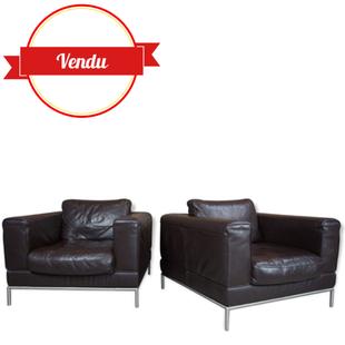 paire de fauteuils en cuir design,fauteuil en cuir design,fauteuil en cuir haut de gamme,vintage,occasion,années 80,cuir brun,fauteuil cuir chocolat
