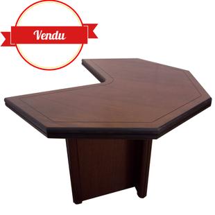 bureau, acajou, forme libre, vintage,hexagonal, pacman, bois, design