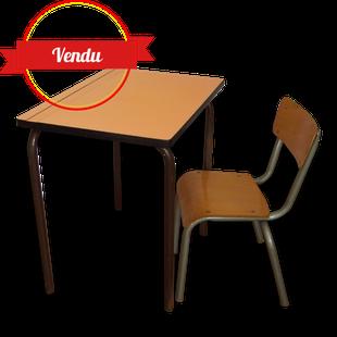 bureau , enfant, écolier, école, vintage, 1950 , 1960, formica, chaise, mullca, jacques hitier,rétro