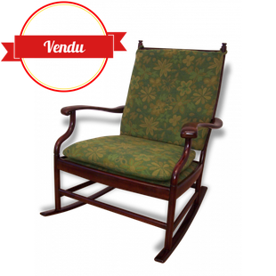 rocking chair, simmons, palissandre, 1960,bascule,vert,fleuri,vintage