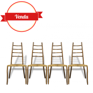 chaises en rotin, salle a manger, repas, rotin dossier échelle, courbé, design, originales, vintage,paille, métal