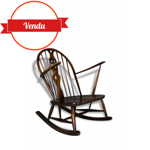 rocking-chair, rocking chair, fauteuil a bascule, ercol, 1950, bois, orme,sculpté, vintage, scandinave, 1960